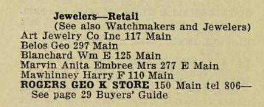 Jewelers Gloucester Directory 1955