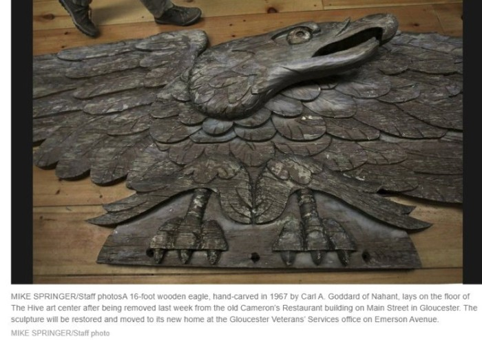 Mike Springer photograph for Gloucester Daily Times- 16 foot wooden eagle hand carved in 1967 by Carl A. Goddard of Nahant