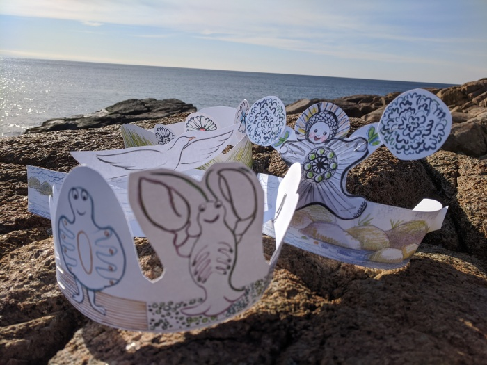 a few of the customizable storyband headbands or story time tiaras by Betty Allenbrook Wiberg for Cape Ann Reads closing celebration at Rockport Public Library
