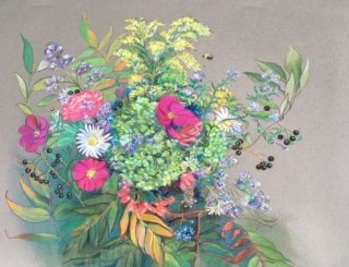 Bee Bliss pastel painting by artist Betty Allenbrook Wiberg ca 2019