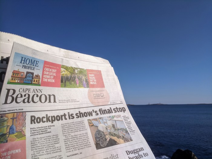 Cape Ann Beacon front page_20200217_Betty Allenbrook Wibert and Cape Ann Reads Rockport show February 2020