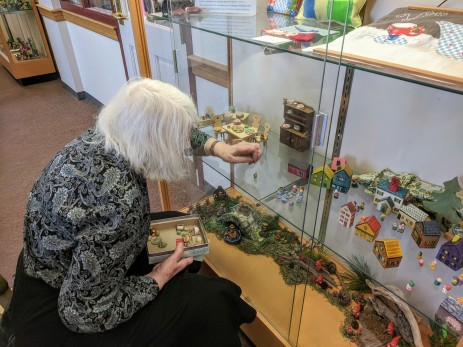 Invited Artist Betty Allenbrook Wiberg placing her installation for Once upon a Contest at Cape Ann Reads February 2020 ©c ryan (1)