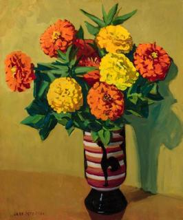 Jane Peterson Zinnias in a Rooster Vase_ lot 47_ Doyle auction_ March 10 2020 _est 3000 to 5000
