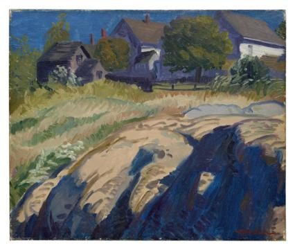 john sloan sun and shadow in rocks 1916 est 10,000 to 16000 by march 5 20 x 24 failed to find buyer 2018 first time up for sale Patrick Duffy actor collection