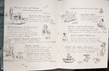 Lions Head Tavern Menu drawings by artist Betty Allenbrook Wiberg Rockport Mass. Kings Grant Inn (5)