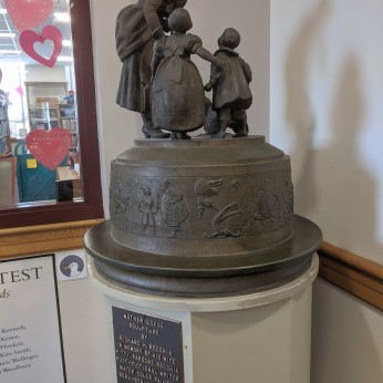 love the bow_Mother Goose sketch model sculpture by Richard H. Recchia_1938_bronze rotates to view rhymes_Rockport Public Library_ Rockport Mass_Photograph copyright 2020 ©Catherine Ryan (2)