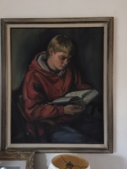 "Reading the fourth Harry Potter book""The Goblet of Fire""_ portrait of her grandson reading_by artist Betty Allenbrook Wiberg"