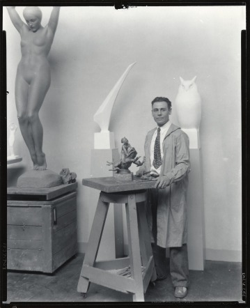 SAAM-J0071743 Recchia in studio photo by Peter A Juley & Son _ see Diver in bckgrnd and boy frog model