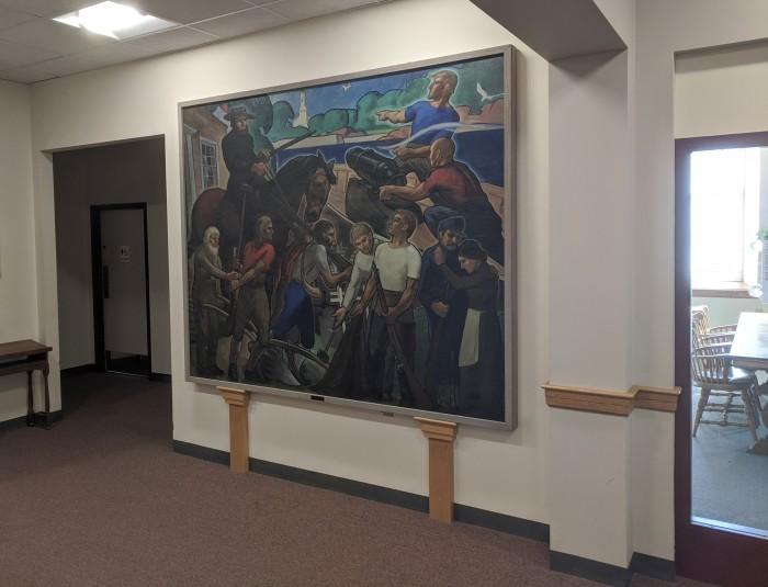 Samuel F. Hershey WPA era mural 1939 at Rockport Public Library Rockport Mass. ©c ryan