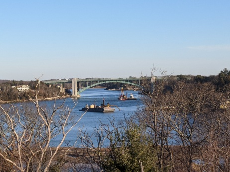 Sunny Saturday morning_ dredging Annisquam River_A. Piatt Andrew bridge_Gloucester Mass._ 20200222_photograph ©c ryan