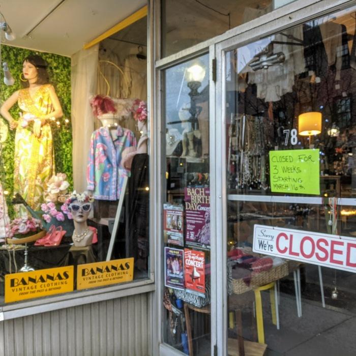 Bananas vintage 78 Main Street Gloucester Mass corona temporary closure sign