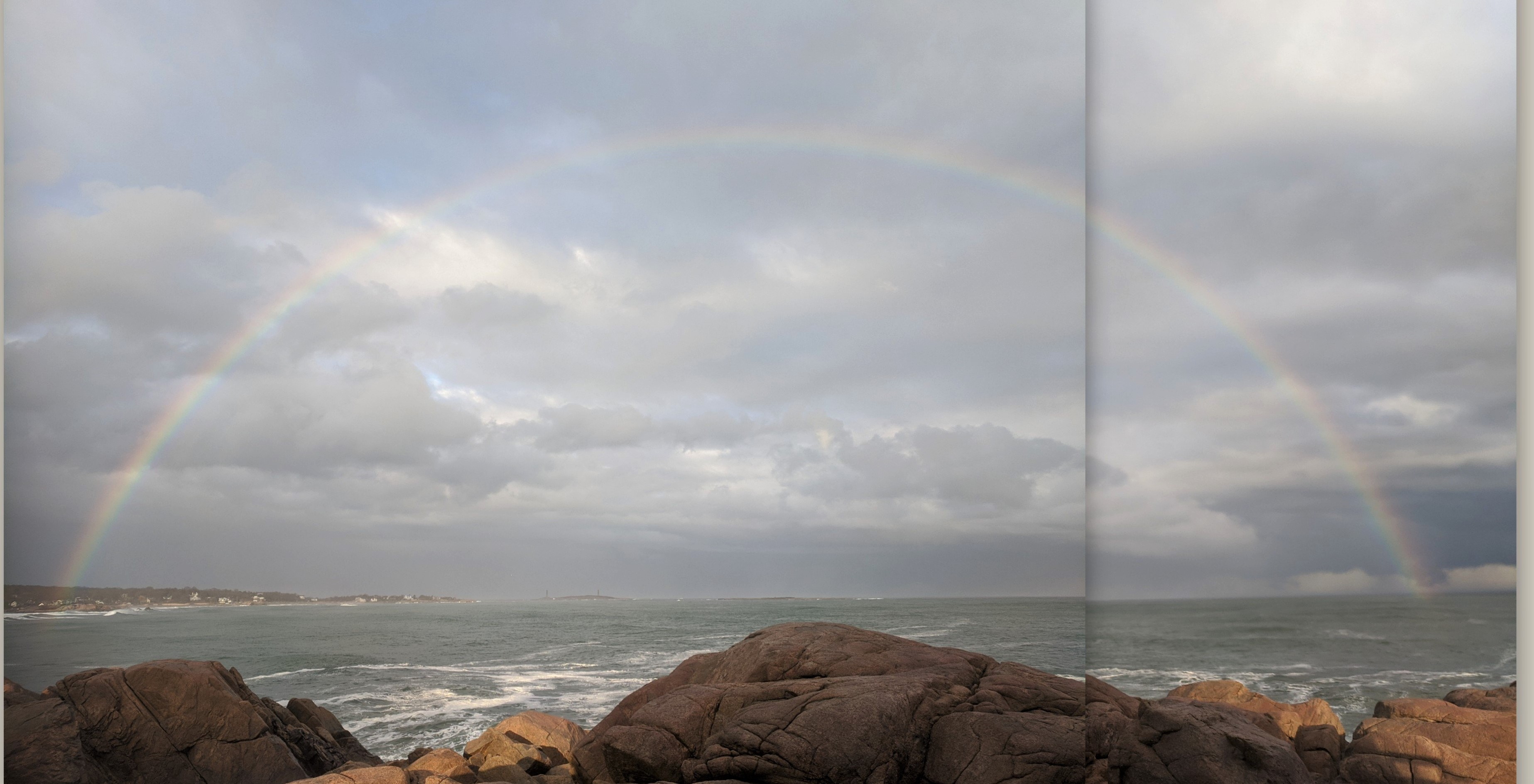 poor pano patch _big rainbow March 13 2020 view from Gloucester Ma near Long Beach Twin Lights in distance
