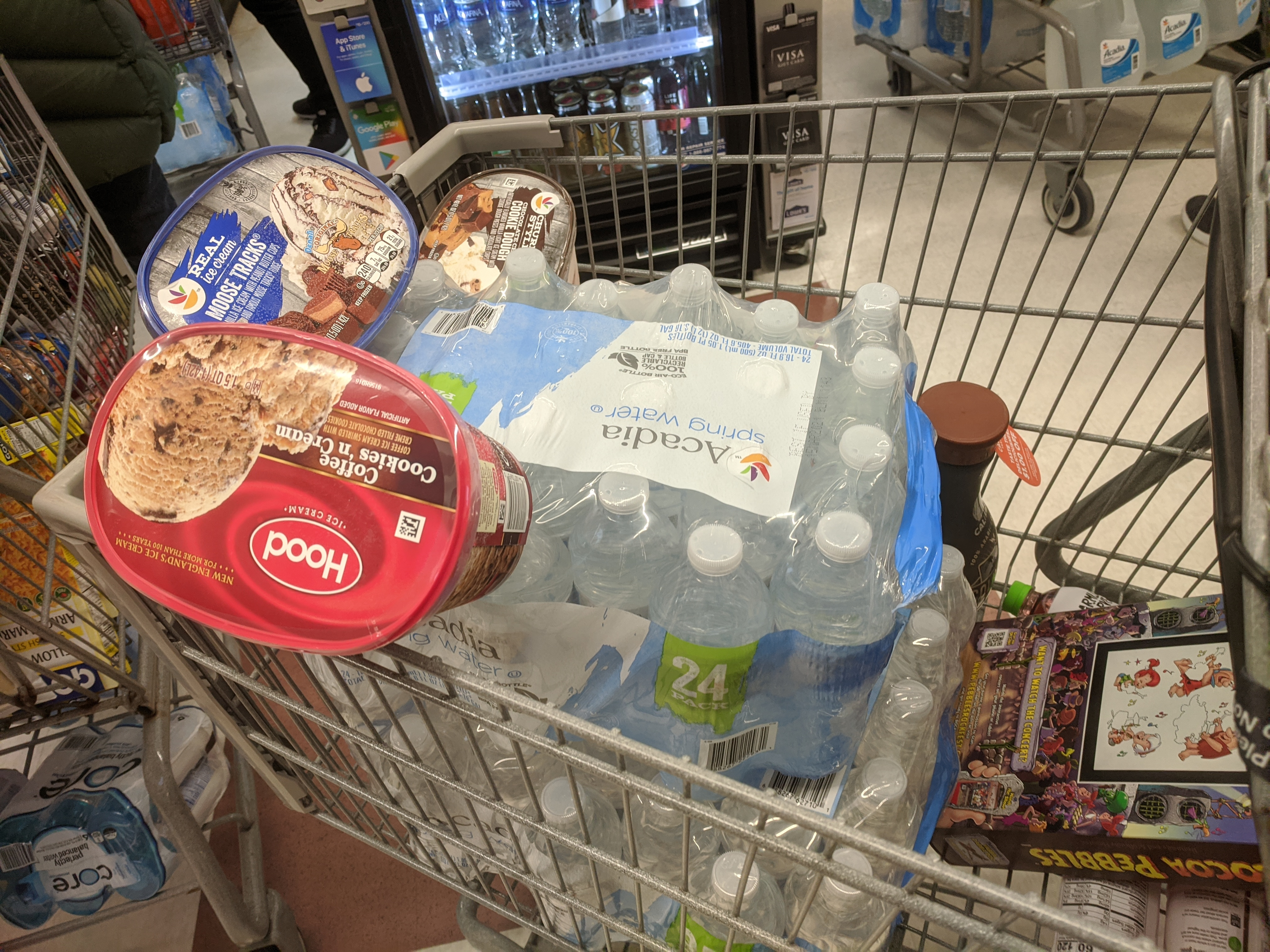 the essentials_ice cream and water_one shopper's cart at stop & shop Gloucester MA_20200312 ©c ryan