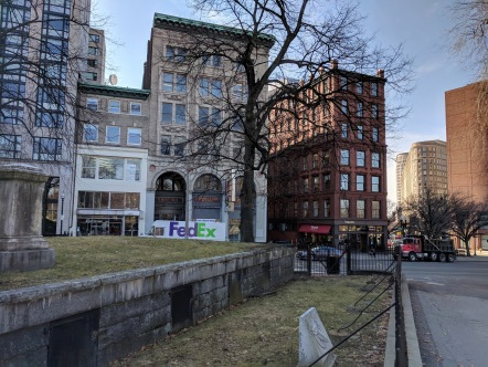 View to building where MCC headquarters located Boston Mass_famous Central Burying Ground cemetery Gilbert Stuart grave_Boston Mass©c ryan