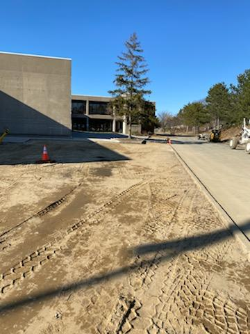 courtesy photo from Gloucester DPW March 2020_O'Maley courtyard work underway_major tree planting +new flower beds_repair cement_ 1 of few big proj.despite covid-