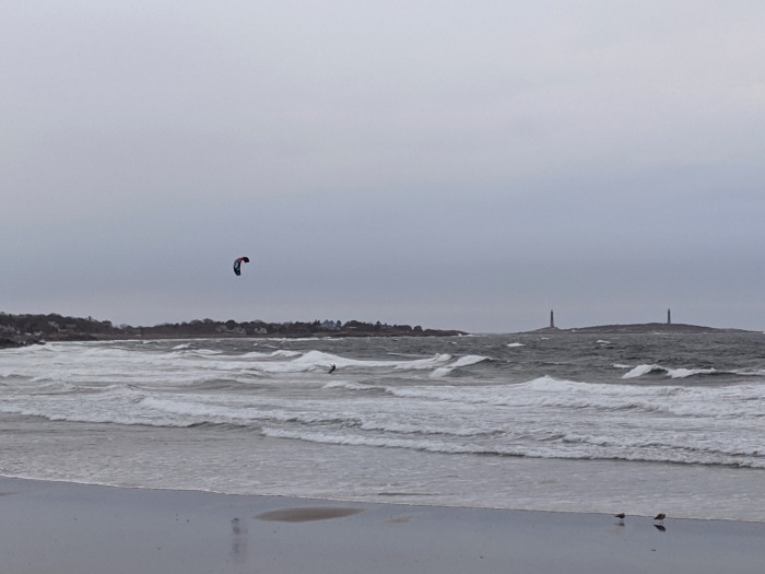solo kitesurfer enjoying windgusts April 21, 2020 _Long Beach_Rockport_Ma, Gloucester_MA, Twin Lights © c ryan