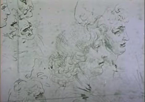 still from Munson Williams 1968 video for Classical Gas_detail of Da Vinci study of heads in profile facing right