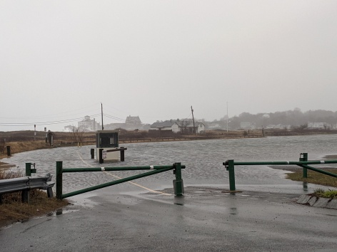 super high tide April 3 2020_Good Harbor Beach flooded parking lot_ Gloucester Mass ©c ryan