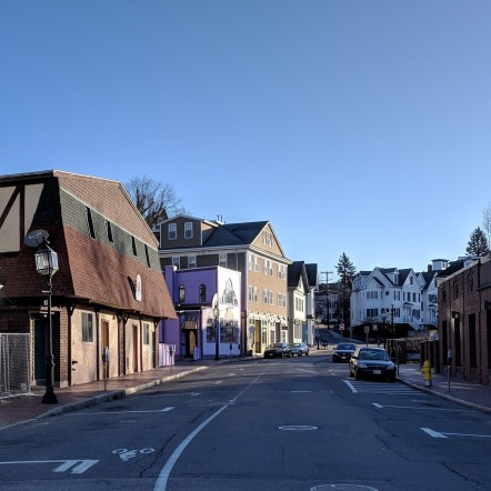 view looking down east end of Main Street_20180422_Cape Ann Moose Lodge on left ©c ryan