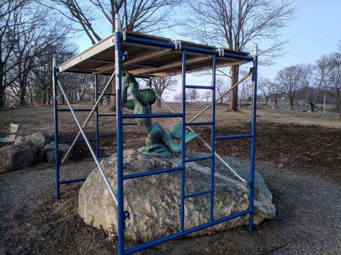 BEFORE landscape revamp, triton-bronze, scupture-public-art-stacey-boulevard-gloucester-ma-artist-walker-hancock-monuments-man_March 2019 ©c ryan