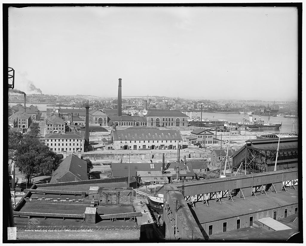 At the time of this aerial photograph circa 1906, the Navy Yards were called the Charlestown Navy Yard.