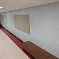 AFTER corridor walls fixed base removed custom benches_DPW renovations at O'Maley school since March 2020 Gloucester Mass_photo copyright ©c ryan