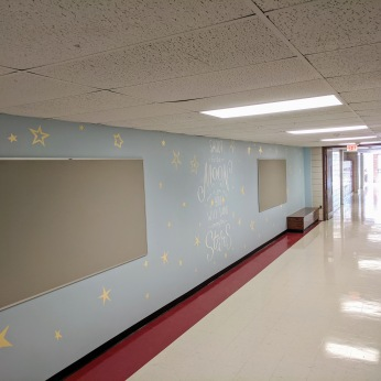 AFTER gleaming floors renovated halls_DPW renovations at O'Maley school since March 2020 Gloucester Mass_photo copyright ©c ryan