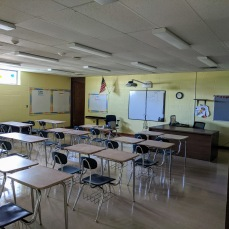 AFTER new paint, walls repaired, teacher's desk furniture _renovations at O'Maley school since March 2020 Gloucester Mass_photo copyright ©c ryan