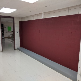 AFTER weird cement block walls fixed_DPW renovations at O'Maley school since March 2020 Gloucester Mass_photo copyright ©c ryan