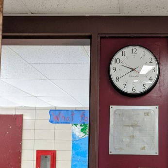 NEW CLOCKS- DPW renovations at O'Maley school since March 2020 Gloucester Mass_photo copyright ©c ryan