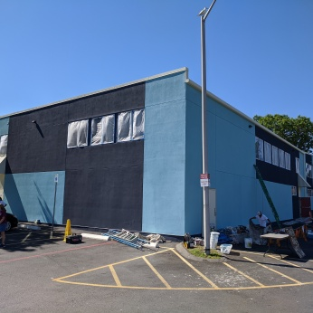 Rose Baker Senior Center Gloucester Mass new exterior paint_20200721_in progress ©c ryan (3)