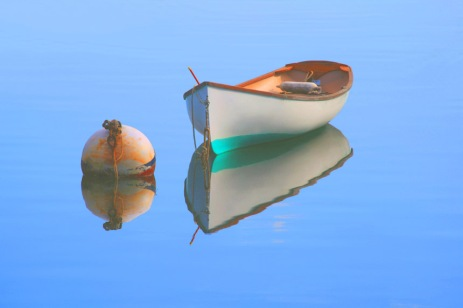 """John Abisamra, """"Boat and Buoy Reflections,"""" photograph, 18 x 24 inches, $230."""