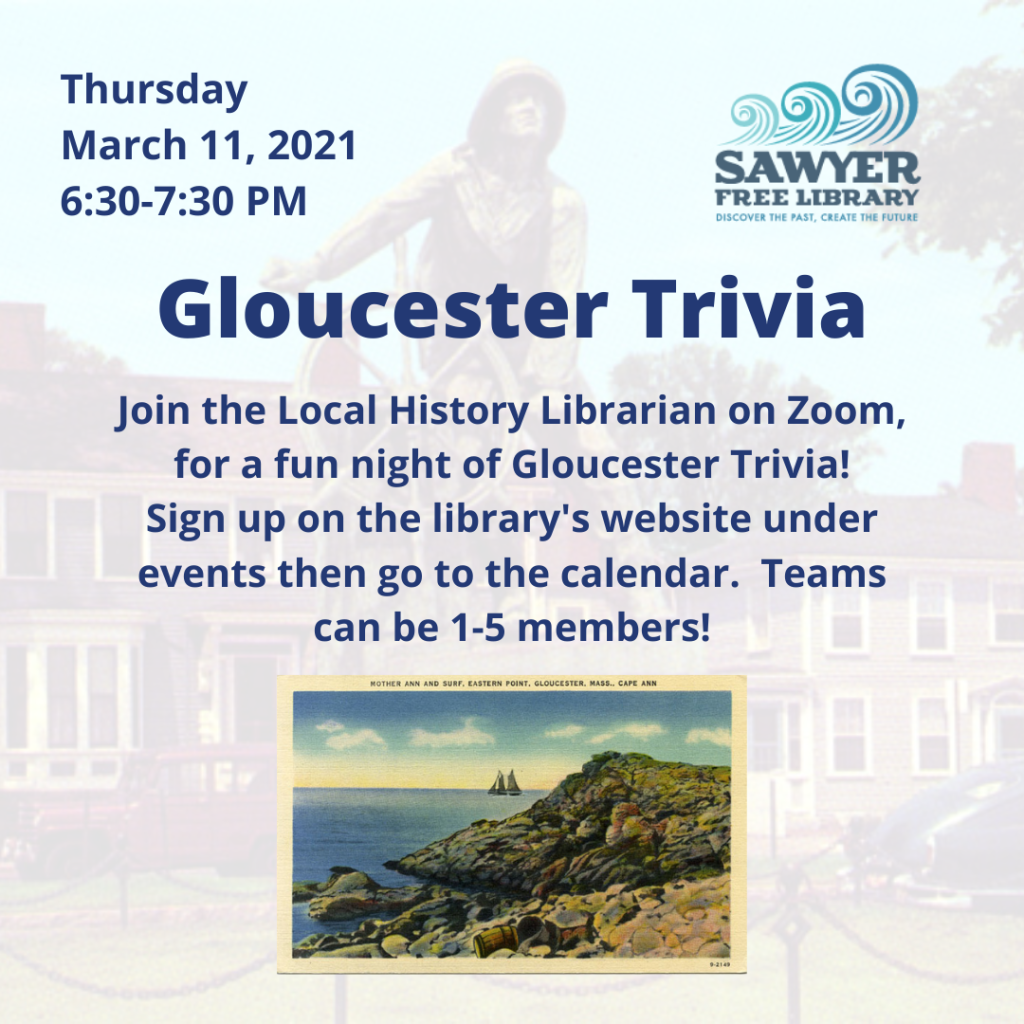 Register TODAY for Gloucester Trivia Night hosted by the Sawyer Free Library